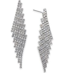 charter club angled pave fringe drop earrings, created for macy's