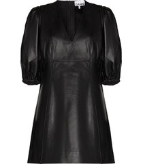 ganni v-neck puff-sleeve leather mini dress - black