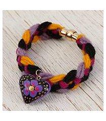 wood braided wristband bracelet, 'goodnight heart' (mexico)