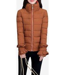 cappotto invernale da donna trapuntato design cerniera chiusura capispalla allentata