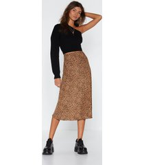 womens claw-t in the act satin midi skirt - tan