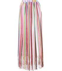 missoni mare stripe print fringe long skirt - blue