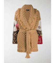 alanui cable-knit patchwork-sleeve coat