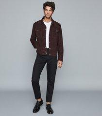 reiss jagger - suede trucker jacket in bordeaux, mens, size xxl