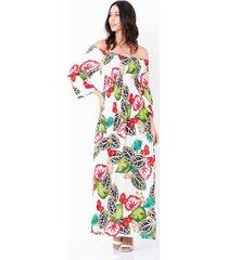 vestido largo estampado tropical escote bardot