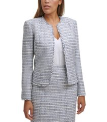 calvin klein petite open-front tweed jacket