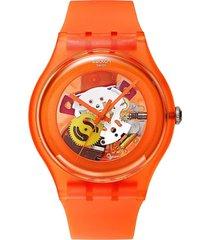 reloj swatch unisex orangish lacquered/suoo100 - naranja
