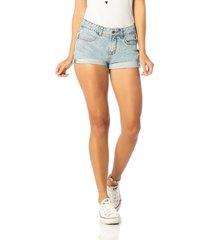 short jeans denim zero young barra dobrada azul