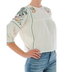 blusa embroidered s/s peas crudo cat