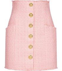 balmain buttoned cotton tweed miniskirt
