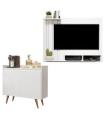 kit painel para tv 48 polegadas dubai branco e aparador buffet 2 portas retro clean branco