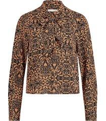 blouse met bladeren print gwen  oranje
