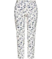 pantaloni cropped fantasiabianco panna / verde oliva a fiori (bianco) - bpc selection