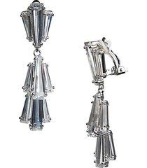 cubic zirconia baguette clip-on earrings