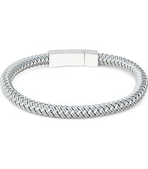 sterling silver & rubber braided bracelet