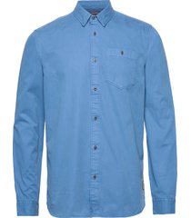 ams blauw garment dyed shirt with suble washes overhemd casual blauw scotch & soda