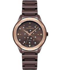 relógio technos elegance crystal 2036mkj/4m 38mm aço feminino