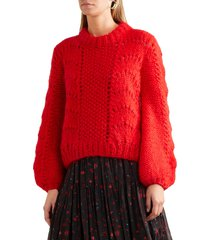 women's the julliard mohair and wool blend pullover sweater fiery red