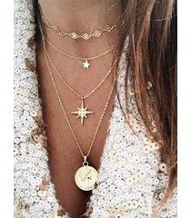 multilayered star portrait pendant necklace