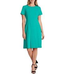 women's tahari crepe fit & flare dress, size 16 - green