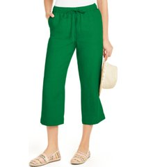 charter club linen capri tie-waist pants, created for macy's