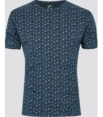 mönstrad t-shirt i ekologisk bomull - blå
