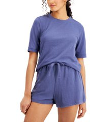 style & co french terry short-sleeve sweatshirt, created for macy's