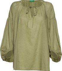 blouse blus långärmad grön united colors of benetton