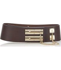 chanel leather belt brown, dark brown, gold sz:
