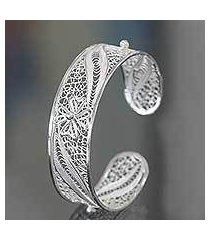 sterling silver filigree cuff bracelet, 'white jasmine' (indonesia)
