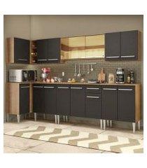 cozinha completa de canto madesa emilly mega com armário vidro reflex e balcão rustic/preto rustic/preto