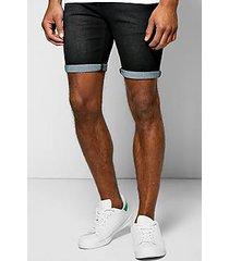skinny fit washed denim shorts