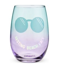 blush resting beach face stemless wine glass