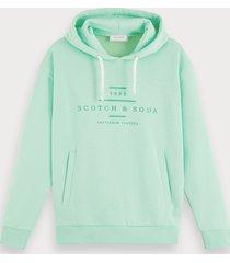 scotch & soda cotton-blend long sleeve branded hoodie
