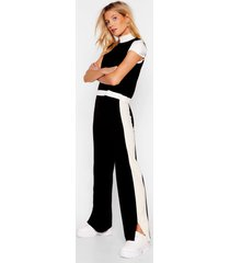 womens block together high neck top and pants set - black