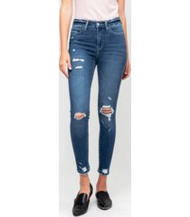 women's high rise distressed crop skinny jeans