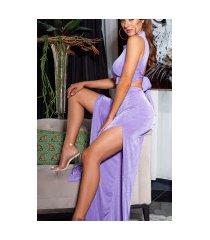 sexy 2 piece-set crop-top + hoge taille broek lilac