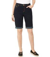 inc international concepts curvy-fit tikglo cuffed denim shorts, created for macy's