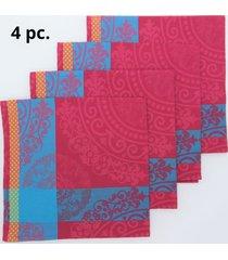 kit de 4 pc. guardanapo baroque 47x47cm 100% algodã£o importado de portugal - rosa - dafiti