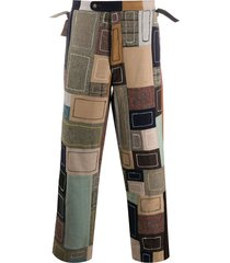 bode patchwork embroidered trousers - brown