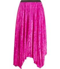marine serre color-block asymmetric pleated skirt - pink