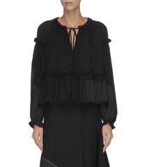 neck tie gathered pleated ruched sleeve top