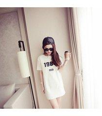 las mujeres coreanas párrafo largo short-sleeved camiseta cuello redondo vestido suelto