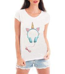 camiseta bata criativa urbana fone unicórnio - feminino