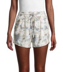 allison new york women's tie-dyed drawstring shorts - grey - size l