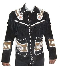 western jacket black cowboy leather jacket fringe bones men's : xs to 6xl
