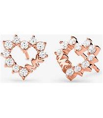 mk orecchini a bottone a forma di cuore in argento sterling con placcatura in metallo prezioso e pavé - oro rosa (oro rosa) - michael kors