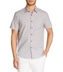 tallia men's slim fit stretch floral print short sleeve shirt