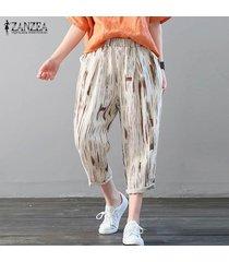 zanzea floral elástico de la cintura de las mujeres algodón de la impresión de los pantalones largos étnicos harén pantalones pantalones -café