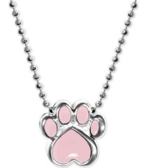 """alex woo pink enamel activist paw print 16"""" pendant necklace in sterling silver"""